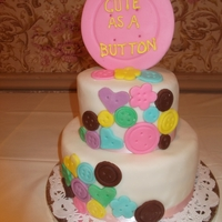 "Cute As A Button Cake  I have to give credit to ""Cupkate"" for this adorable idea. I was just waiting for a baby shower so I could make it. So happy with..."