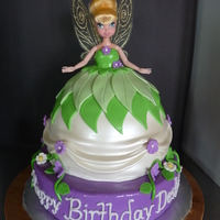 Tinker Bell Doll Cake Tinker Bell doll cake with MMF and fondant cut outs. The bottom is a 10 in. I used an 8 in and 6 in then used cake spackle to round it out...
