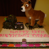 Girly Deer Hunter Cake Vanilla cake covered in fondant with buttercream accents. Customer brought the deer, trucks and other accessories.