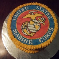 Marine Corps Cake Made this cake for my Mom's Birthday. Emblem made with Color Flow Icing.