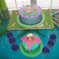 Tinkerbell Birthday Tinkerbell on big cake is FBCT. Flowers are Fondant. I got the idea for the smash cake from someone on here but I don't remember how....