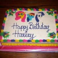 My Little Pony Rainbow Cake My sweet niece Harley wanted Fluttershy, Rainbow Dash, and Rarity ponies on her cake this year. Please don't laugh, I did the best I...