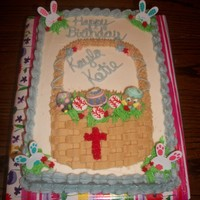 Easter Basket Birthday Cake When twins tell you they want me to mix Easter, baseballs and crosses into a cohesive theme for their birthday cake, what do you get????...
