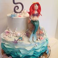 "Ariel The Mermaid Ariel, the mermaid cake...10"" & 6"" covered in buttercream w/fondant waves/ruffles, shells and mermaid. Purchased white pearls..."