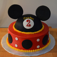 Mickey Mouse Theme   Frosted in BC. With fondant decor. Mickey hat is covered in fondant with fondant ears.