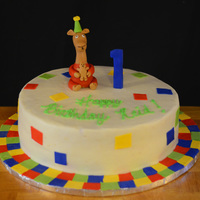 Llama Llamathemed 1St Birthday Frosted in BC with fondant quilt squares and handmade Llama topper.