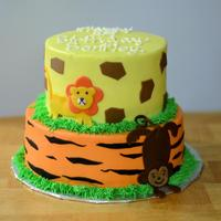 Jungle Theme   frosted in bc with fondant decor
