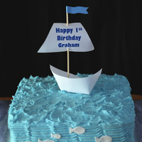 Modern Boat 1St Birthday   Frosted in BC paper boat