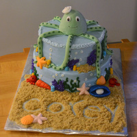 Sea Theme Frosted in BC with fondant decor. Sand is brown sugar.