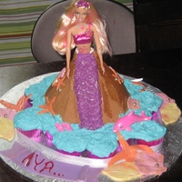 Princess/mermaid vanilla cake and cupcakes with butter cream frosting