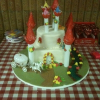 Princess Castle Cake Bottom tier is chocolate with mocha filling. And top tier is red velvet