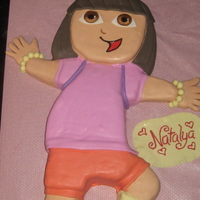 Dora The Explorer Cake chocolate cake filled with chocolate fudge and covered in BC and MMF.