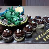 Baby Dragon Cake Cookies and cream cake for a friend's baby shower. I saw a picture of a cake someone did of the baby dragon just hatched from his egg...