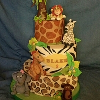 Jungle Themed With All Hand Modeled Sugar Paste Animals Jungle themed with all hand modeled sugar paste animals