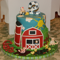 Farm Themed 2Nd Bday Cake Made this for my little guy's 2nd bday! 10in/8in, buttercream.farm, silo, animals made from gumpaste. The mud the pig is rolling in is...