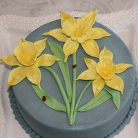 Spring Daffodil Cake WASC cake with cannoli cream filling and vanilla buttercream. Daffodils hand made from gumpaste.