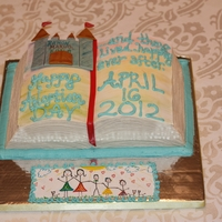 Adoption Day Cake This storybook cake was made for an adoption party. The cake is a 9x13, two layers, carved. Indydebi's buttercream frosting on the...