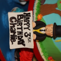 Thomas Train & Sir Topham Hat Bday Cake Buttercream with fondant accents. Sir Topham Hat and the Happy Bday sign are gumpaste. Rocks are chocolate.