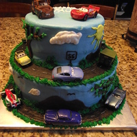 Cars Cake   White cake with buttercream icing...........