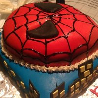 Spiderman Spiderman Mask Birthday Cake. Both cakes are chocolate with vanilla buttercream covered in fondant. Mask is hand carved. Web print is hand...
