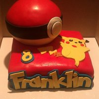 Pokemon Birthday Cake Pokemon Birthday Cake. Pokeball is all cake made with the sport ball pan. Pikachu is cut out of fondant. Name is cut out of fondant using...
