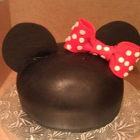 Minnie Mouse Birthday Cake Minnie Mouse cake. Made to look like one of the hats from Disney. Birthday girl's name on the back. Ears are cut from fondant. I cut...