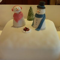 Snowman Walnut Whip Christmas Cake, 2010   Rich food cake baked by my OH parents and decorated by myself for them, Christmas 2010