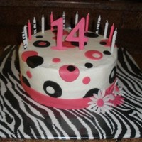 "Pink Zebra 8"" buttercream cake for my niece's 14th birthday."