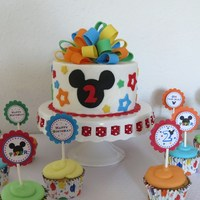 Mickey Mouse Birthday Buttercream with fondant decorations for my daughter's birthday