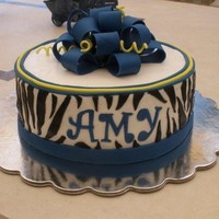 "Zebra, Blue And Yellow Graduation Cake 8"" buttercream cake for a friend's daughter's graduation. She wanted the ever-popular zebra pattern combined with her school..."