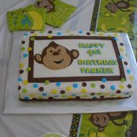 "First Birthday 10x15"" cake for my nephew's first birthday. Buttercream iced with fondant monkey, dots, stripes and lettering. Inspiration from..."