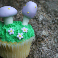 Toadstool Garden Cupcake Buttercream cupcake with fondant accents