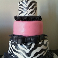 Pink & Black Zebra Birthday Cake