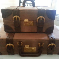 A Vintage Luggage Cake For A Going Away Party   A vintage luggage cake for a going away party.