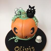 Cute Pumpkin Birthday Cake the cake was baked in Pyrex bowls and covered in ganache and sugarpaste. Characters hand modelled using sugarpaste and tylose.