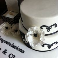 Black And White Engagement Cake