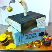 "Harry Potter Book Cake Each book was a 9x13"" cut in half. The Jelly Bean Bag, Money Bag and wand were made out modelling chocolate. The Golden Snitch was a..."