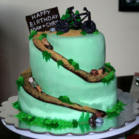 Mountain Biking Cake Spiral-esque carved cake. All edible (except toothpicks to hold bike and sign on cake).