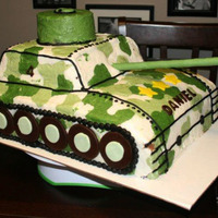 Tank Cake 11x 15 tank cake decorated with buttercream.