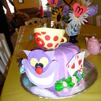 "Alice That's a gumpaste teacup on top. I combined several ideas I found on CC. It was a small 6"" cake."