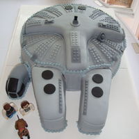 Star Wars Millenium Falcon Battleship Grooms Cake, Millenium Falcon delivered to the wedding venue! It was heavy, it took my 2 sons to lift, hold and walk it in. If you look...