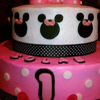 Minnie Mouse And Smash Cake Minnie Mouse Theme Cake and Smash Cake! Bow is fondant. Pink Shoes are pensil sharpeners I found at Party City.