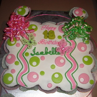 Pink & Lime Dot Decorated Cupcake-Cake Pink & Lime Pull Apart Cupcake Cake! Curly ribbon and 2 butterflies are not edible!