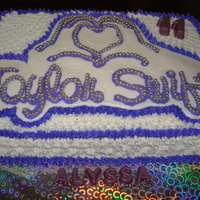 Taylor Swift Birthday Cake!   Taylor Swift logo is a fbct. Cake is a 9x13 inch in 2 layers.