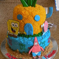 Spongebob Cake buttercream icing. characters are out of royal icing