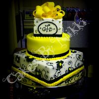 Black Blue Yellow Flowers Wedding Cake