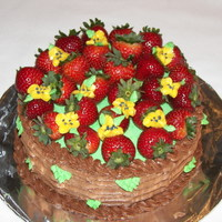 Basket Cake Buttercream basket weave with fresh strawberry's and buttercream flowers and leaves