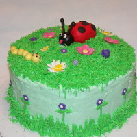 Lady Bug Cake Buttercream frosting and grass, fondant lady bug, caterpillar and flowers