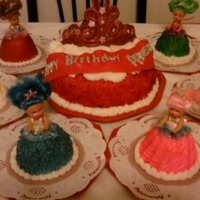 Princess Cake princess cake with princess dolls