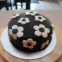 "Black Daisies 8"" Cherry Chip (Boxed) cake, covered in buttercream and MMF."